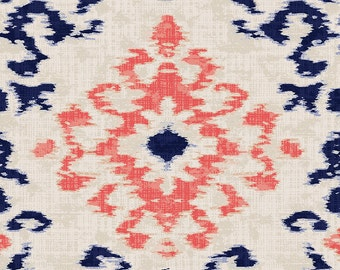 Navy and Coral Ikat Damask Organic Fabric - By The Yard - Boy / Girl / Gender Neutral