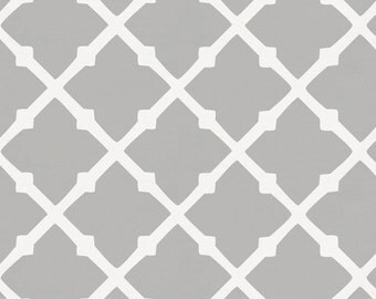 Silver Gray Lattice Organic Fabric - By The Yard - Girl / Boy / Neutral