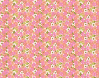 Pink and Coral Mini Floral Organic Fabric - By The Yard - Girl / Pink / Flowers