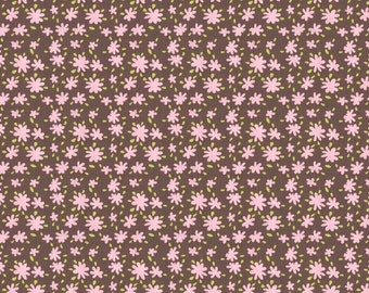 Brown and Pink Daisies Fabric - By The Yard - Girl / Floral / Fabric