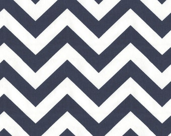 White and Navy Zig Zag Fabric - By The Yard - Girl / Boy / Gender Neutral