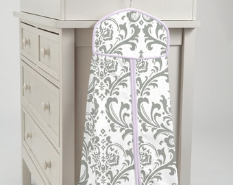 Carousel Designs Lilac and Gray Traditions Damask Diaper Stacker