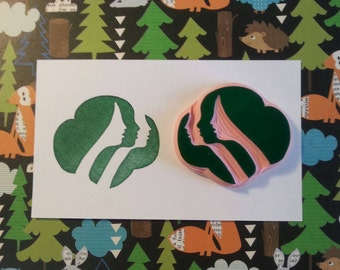 Girl Scout inspired Trefoil Hand Carved Rubber Stamp