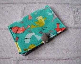 Birds Tea Wallet, Aqua Coral Gray Tea Wallet, Gifts Under Ten, Mother's Day Gift, Tea On The Go, Birdies Tea Wallet, Gifts For Tea Drinkers