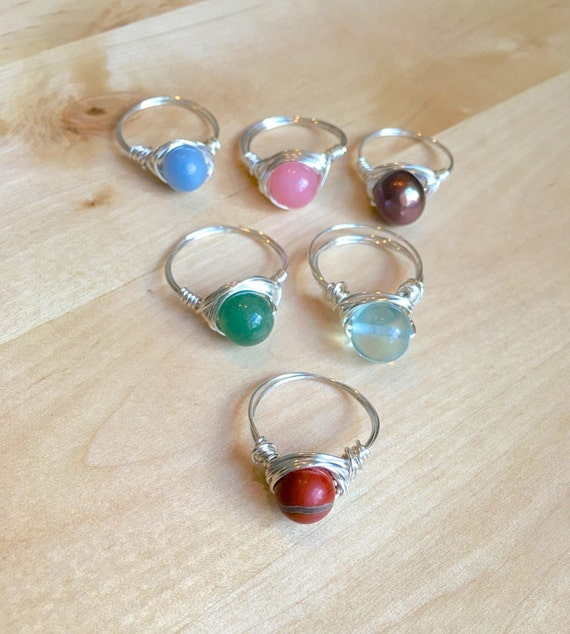 wire wrapped ring gemstone stackable rings by aroisproducts