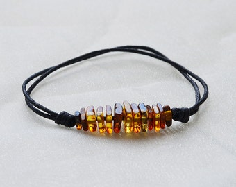 Amber bracelet with coton rope/ baltic amber/ four corners  ambers/ handmade/ amber polished/ best gift