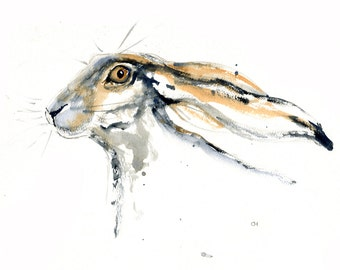 Hare #1 Nov 2015.  Signed and mounted archival print of my own watercolour.