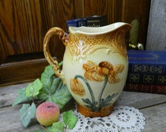 Antique Cream and Brown Poppy Pottery Pitcher