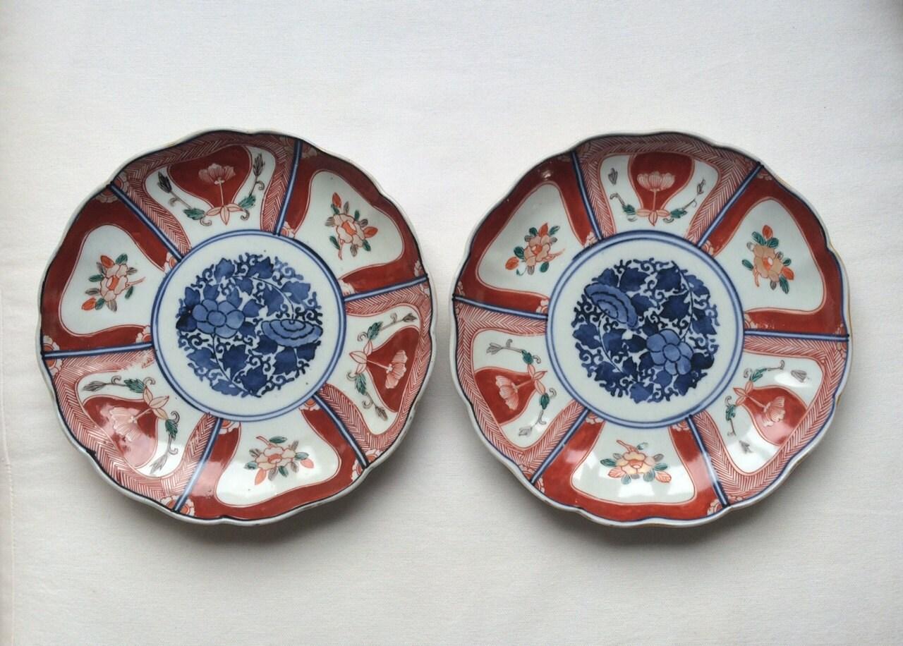 Late Edo 19th Century Japanese Imari Porcelain Plate Marked On