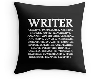Writer Print, Write Pillow, Writer Pillow, Writer Definition, Gifts for Writers, Writer Toss Pillow, Writer Quote