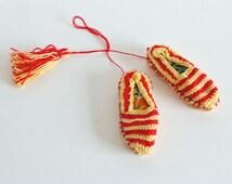 Vintage Miniature Shoes, Espadrilles, Catalonia flag  Barcelona, Handmade, Straw Shoes,  Miniatures, collectibles