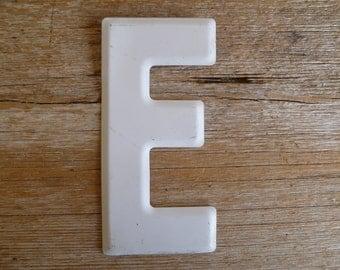 "White Metal Letter ""E"" Wall Decor Sign"