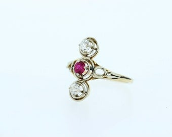 14K Gold Two tone Ring with Diamonds and Ruby