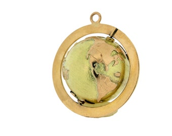 Rotating Globe Pendant  14K