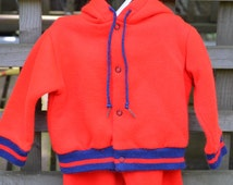 80s Baby Boy Jogging Outfit Running Suit Matching Sweatshirt and Sweatpants Red With Blue Trim 12 Months