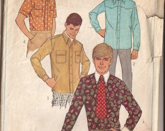 Simplicity 6955 Men's Shirt Size Medium 15-15 1/2, Chest 40. Vintage 1966