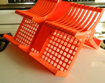Rubbermaid collapsible dish drainer / folding dish drainer / retro dish drainer / orange