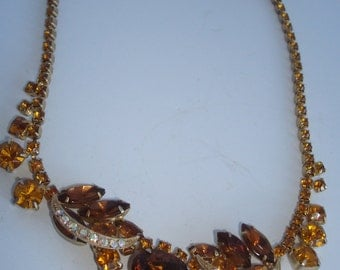 1950'S Brown and Amber Chocker Rhinestone Necklace / Earrings set
