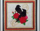 Machine embroidered Gothic Valentines Day card, fabric art card, ravens, red roses, ivory glittered fabric, black embossed card, 6in x 6in.