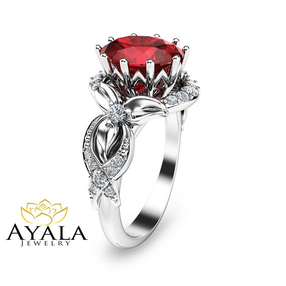 Items Similar To 14K White Gold Ruby Engagement Ring