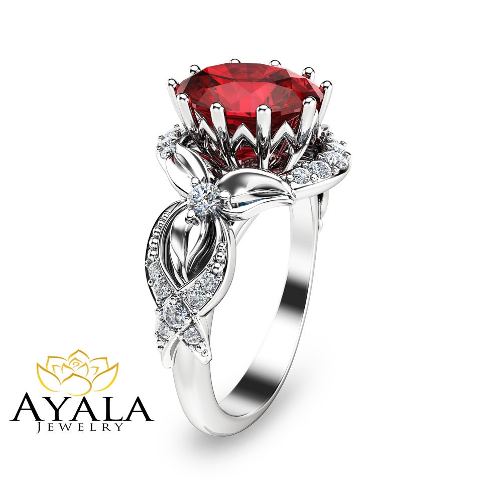 14k white gold ruby engagement ring unique ruby by. Black Bedroom Furniture Sets. Home Design Ideas