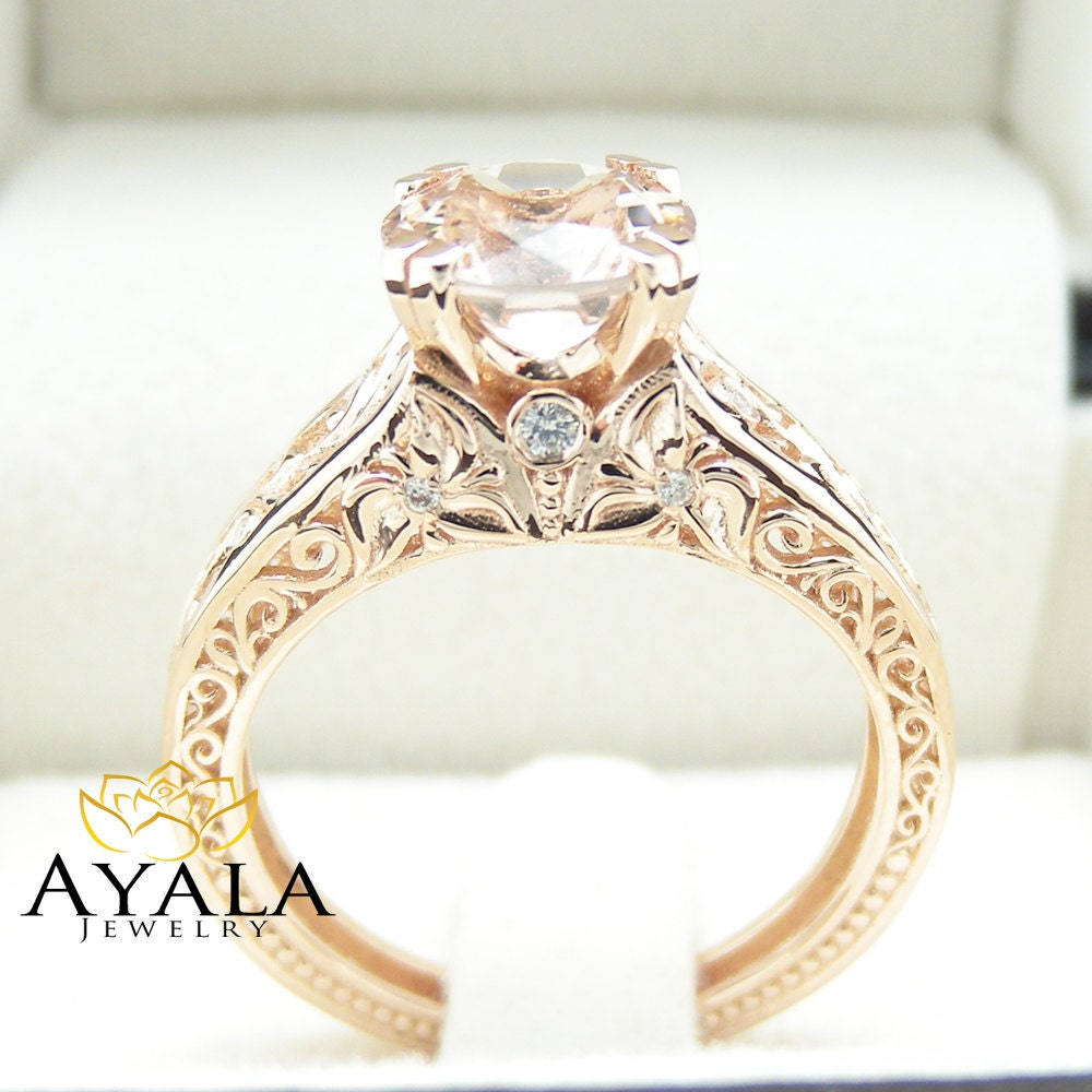 vintage gold ring vintage style wedding rings Vintage Engagement Ring 14K Rose Gold Morganite Engagement Ring Vintage Rose Gold Ring