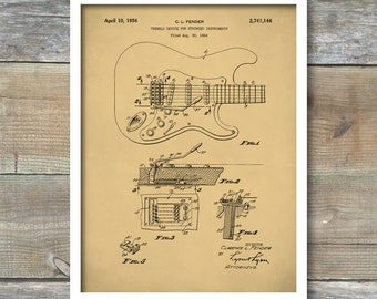 Patent Prints, Fender Tremolo Guitar Poster, Whammy Bar Patent, Guitar Art, Guitar Decor, P246