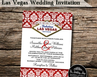 "5"" x 7"" White & Red Glitter Effect Las Vegas Wedding Invitation Design - Printable JPEG and PDF Files"
