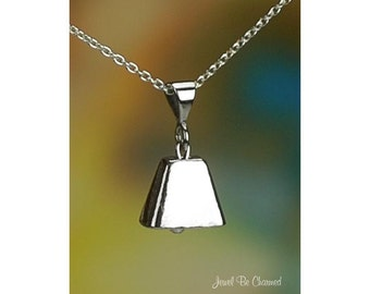 """Sterling Silver Cowbell Necklace 16-24"""" or Pendant Only Solid .925"""