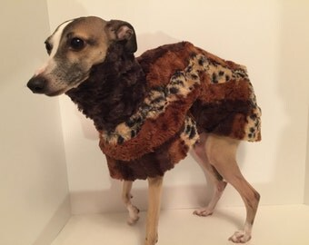 Luxe Faux Fur Dog Coat Trimmed in Faux Leather Designed for Italian Greyhounds - Size Medium