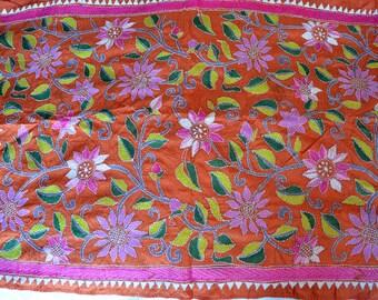 Hand-embroidered silk scarf, Naroor Village, India