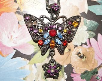 Pretty Vintage Butterfly Necklace boho festival necklace