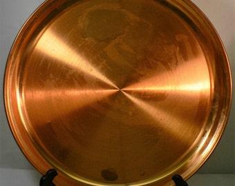 Vintage large solid copper round platter
