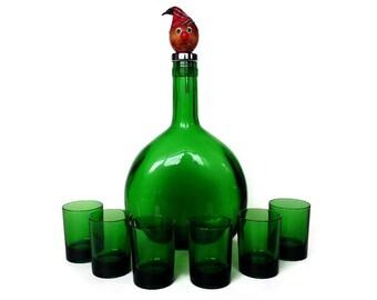 Green Decanter Set, Wood Head Stopper, Shot Glasses