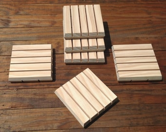 Soap Saver Dishes - 6 ea. - These Wooden Soap Holder Decks are Self Draining w/ Beveled Edges