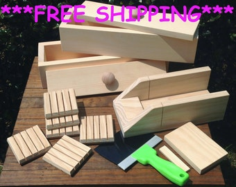 Two 4 lb Soap Mold Combo - 2 Wooden Log Molds w/ Lids - Soap Cutter Miter Box w/ Knife - 6 Soap Saver Dishes * FREE SHIPPING *