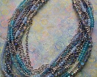 Ten Strand Aqua, Periwinkle, & Iridescent Glass Bead Necklace