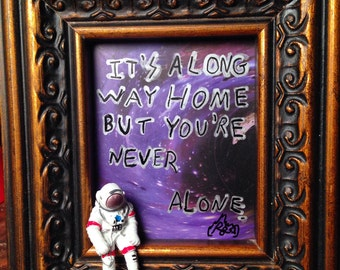 Space art frame. You're never alone. Alien. Astronaut.