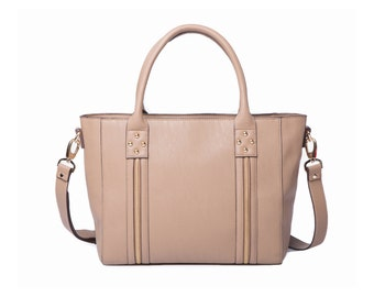 14 Inch Women's Vegan Leather Laptop Tote Bag. Back to School, Beige Neutral Bag, Workbag, Everyday Bag For Work