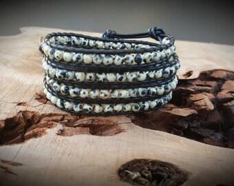 Chan luu Style Wrap Bracelet With Dalmatian Jasper On Black Leather
