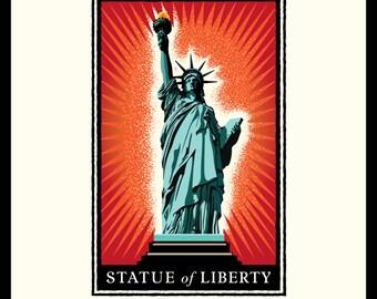 Landmark Series | NY, Statue of Liberty Orange Burst by Mark Herman