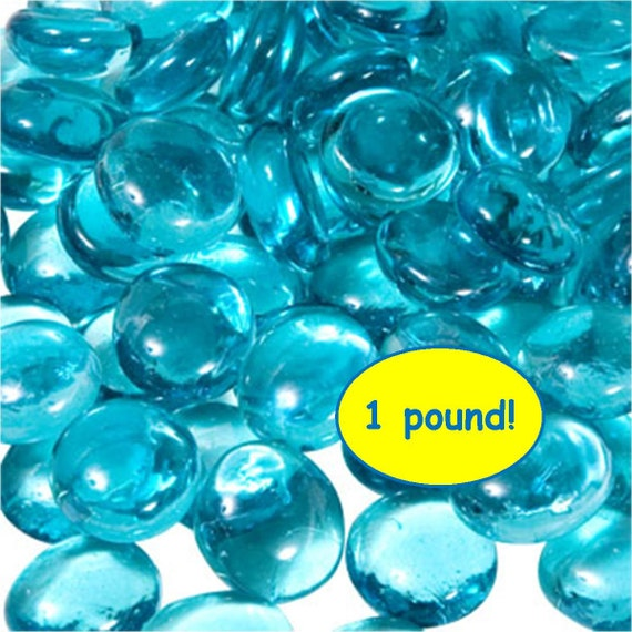 1 Pound Flat Marbles Beautiful Glass Turquoise Blue Gems