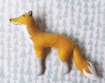 Felt woodland heirloom fox soft sculpture