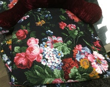 Retired Ralph Lauren Cossette Isadora floral King flat sheet  Black floral