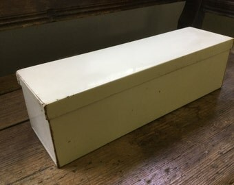 Vintage ivory painted metal box with cover storage display shabby cottage