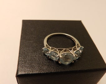 Sterling Silver Aquamarine Gemstone  Ring