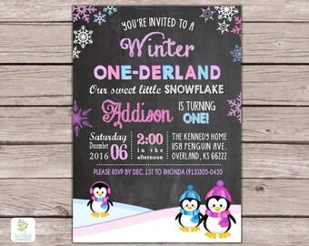 Winter Onederland Invitations, Wonderland Birthday Party Invitation, Penguins Girl First Birthday Invitation, Snowflakes, Penguins