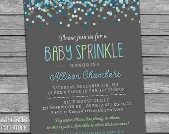 Boy Sprinkle invitation, Baby Boy Sprinkle shower, blue green aqua, confetti, chalkboard, DIY