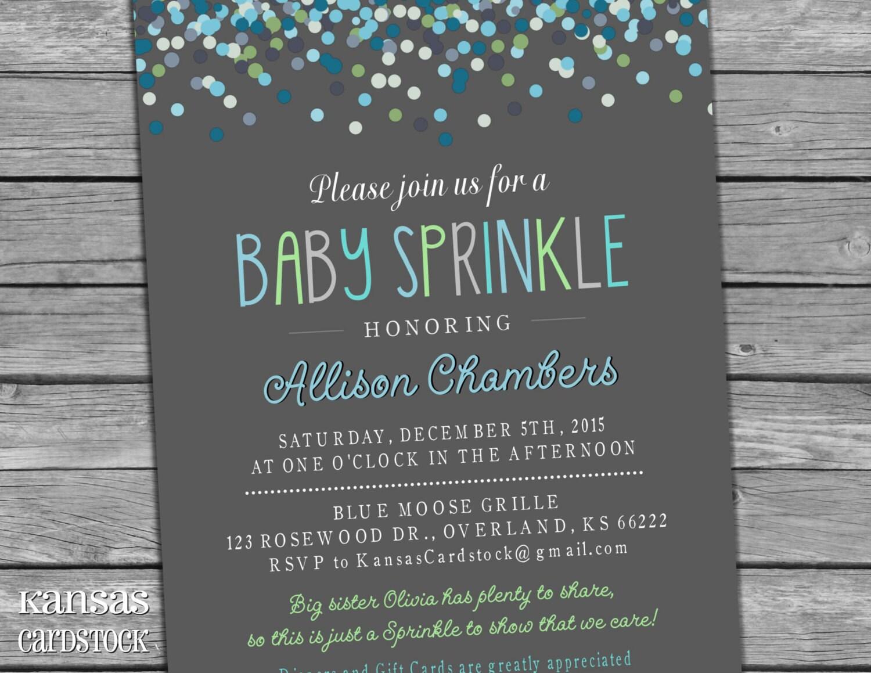 sprinkle invitation | etsy, Baby shower invitations