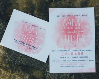 Chalmers Watercolor Wedding Invitations & RSVP card